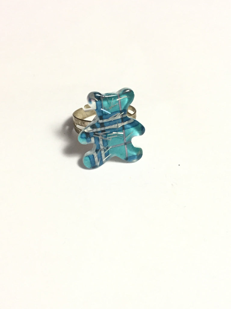 Blue Plaid Teddy Bear Ring