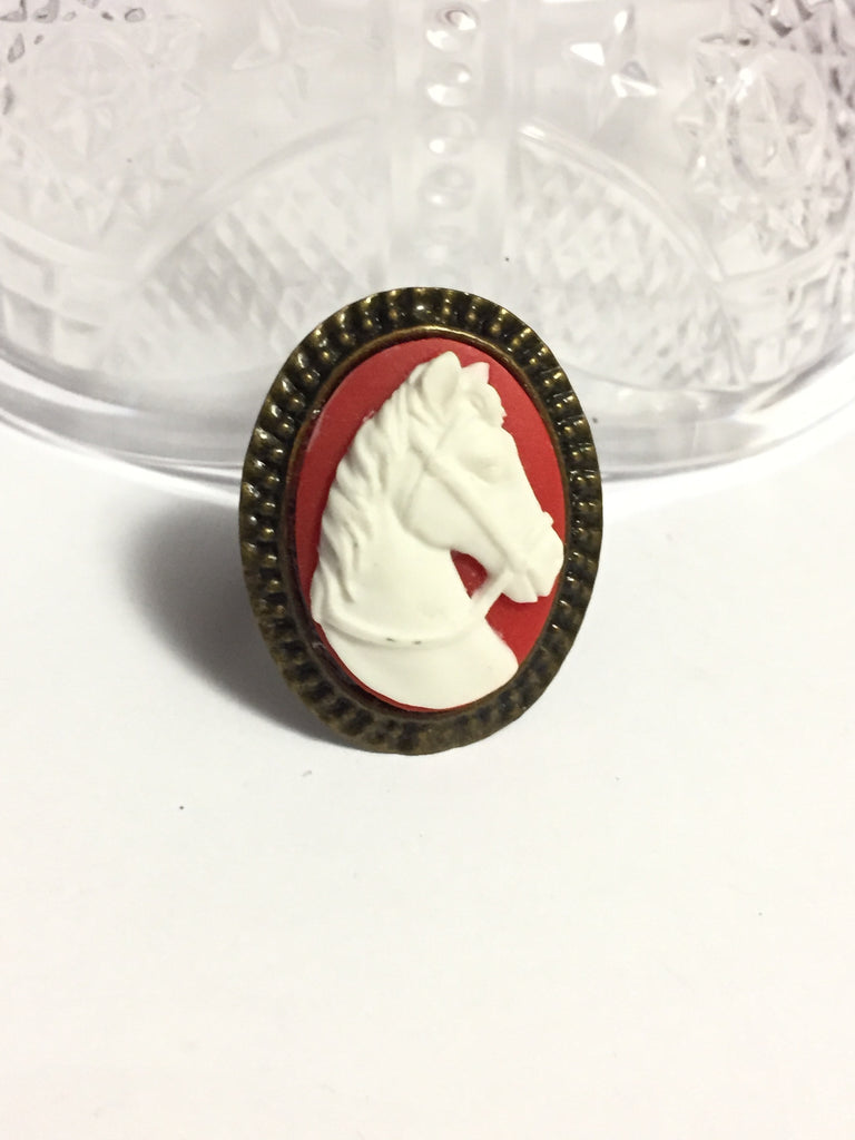 White Horse Cameo Ring