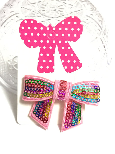 Rainbow Sequins Bow Barrette
