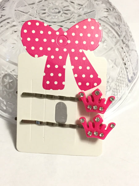 Pink Princess Crown Hair Pins