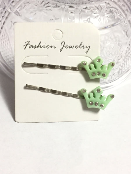Light Green Princess Crown Hair Pins