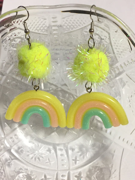 Rainbow and Pom Pom Earrings