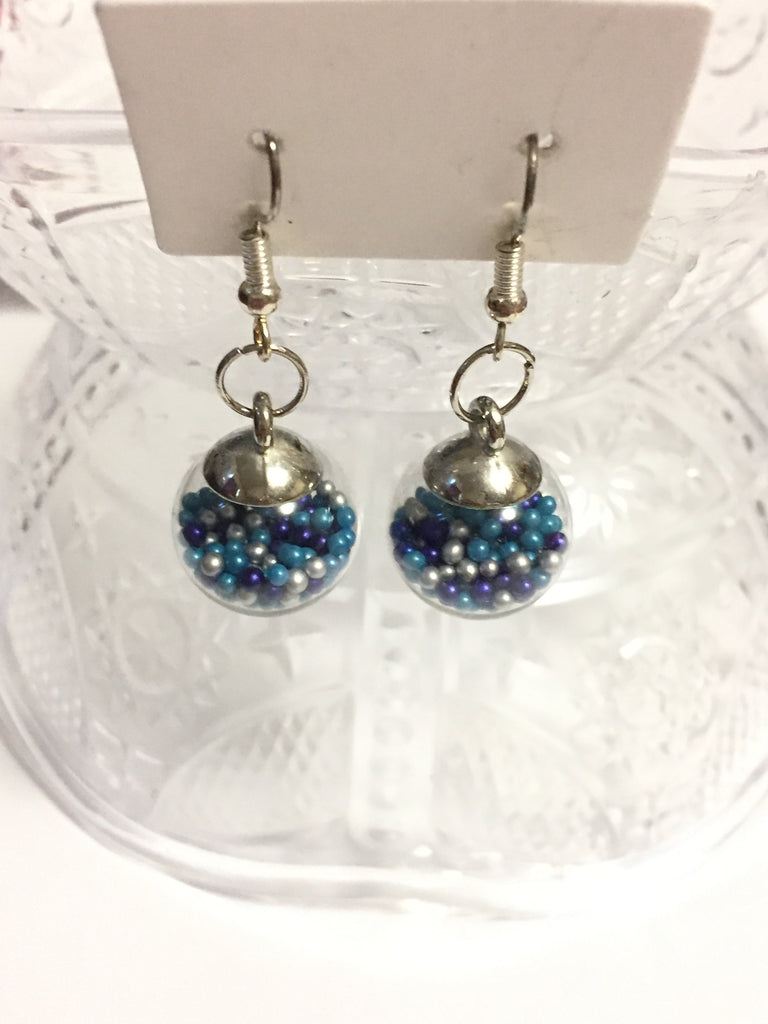 Blue Sprinkles Globe Earrings