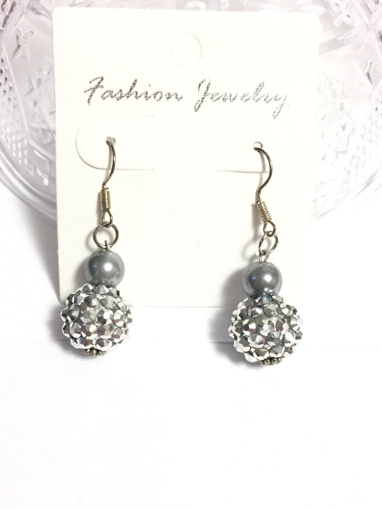 Silver Pearl and Rhinestone Bead Earrings