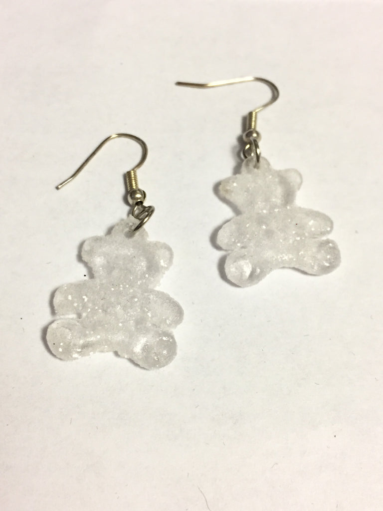 Frosted White Teddy Bear Earrings