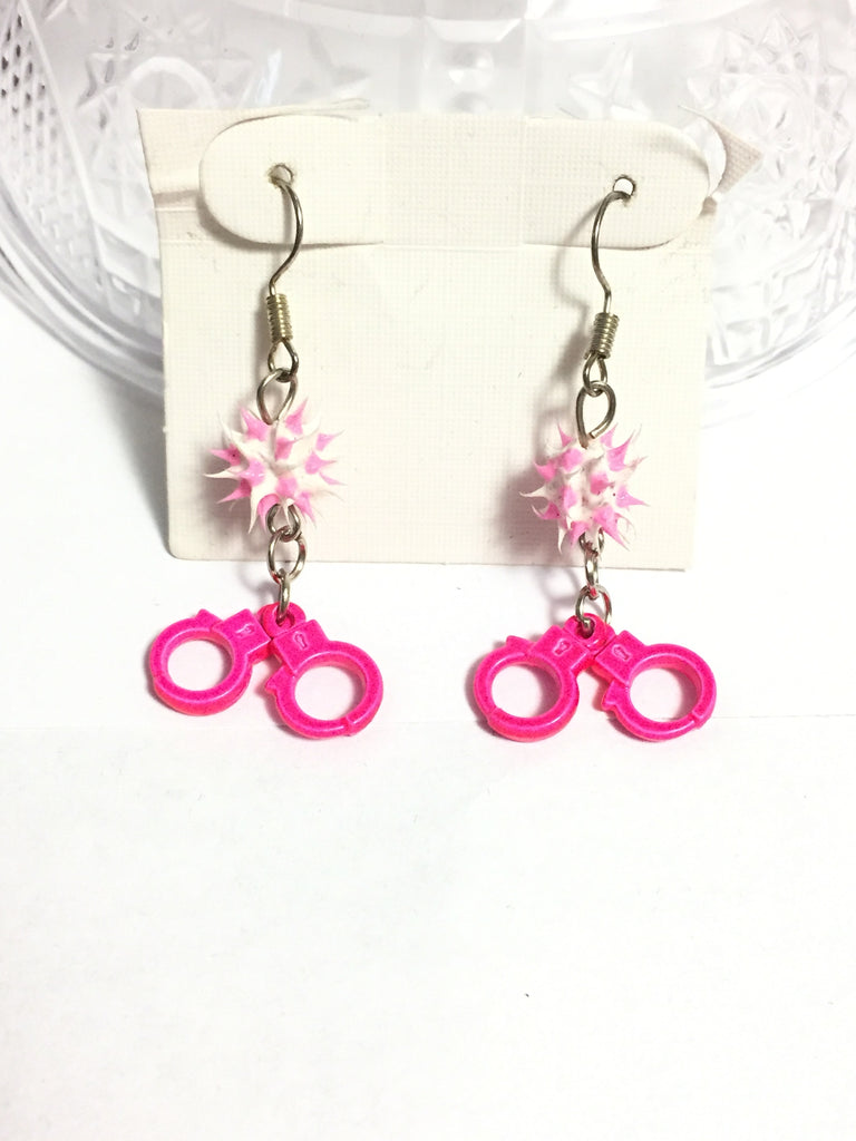 Pink Handcuffs Rubber Spike Bead Earrings
