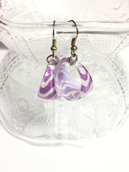 Purple and White Zebra Print Hoop Earrings