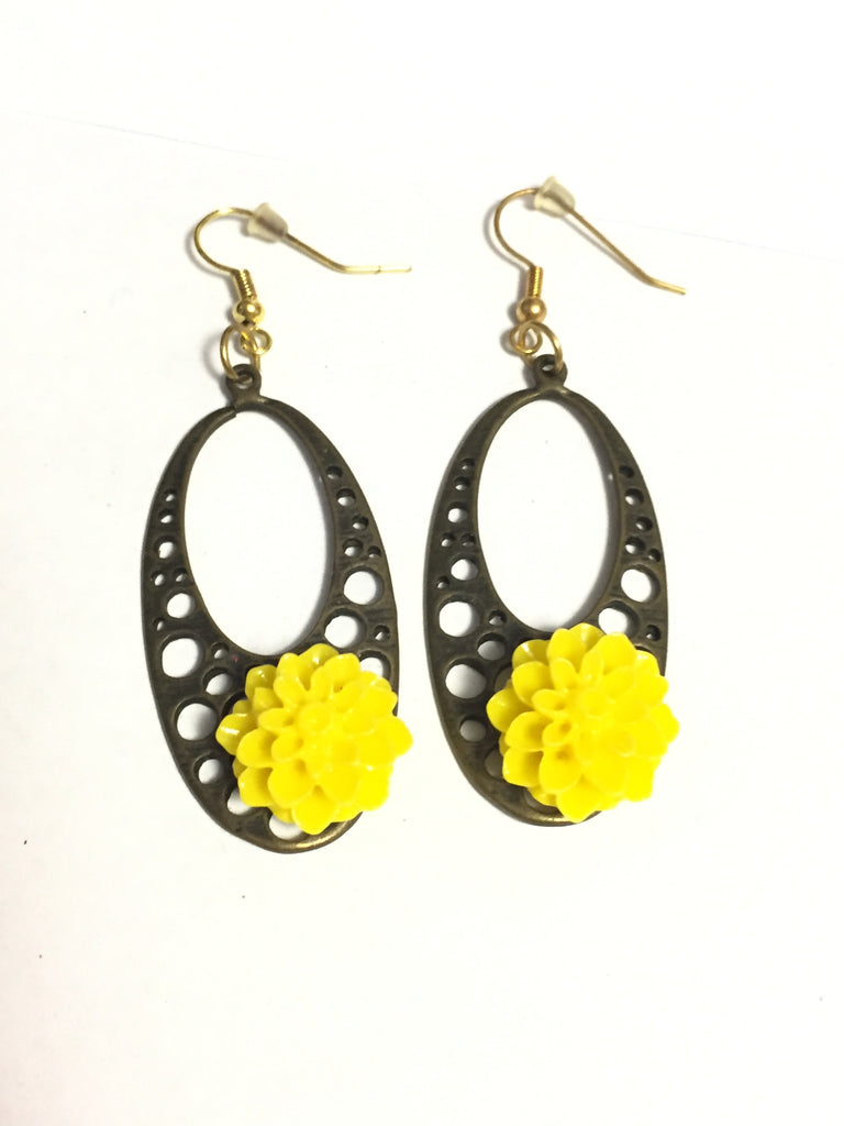 Yellow Chrysanthemum Flower Earrings