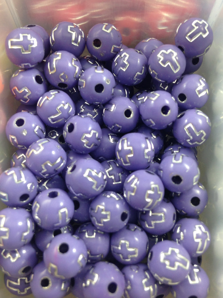 Lavender Cross Print Beads