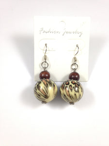 Leopard Print Beaded Earrings