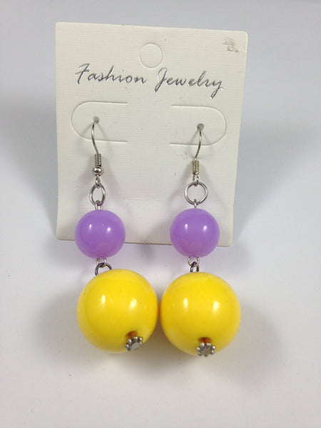 Lavender and Lemon Earrings
