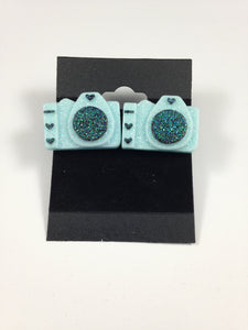 Blue Camera Earrings