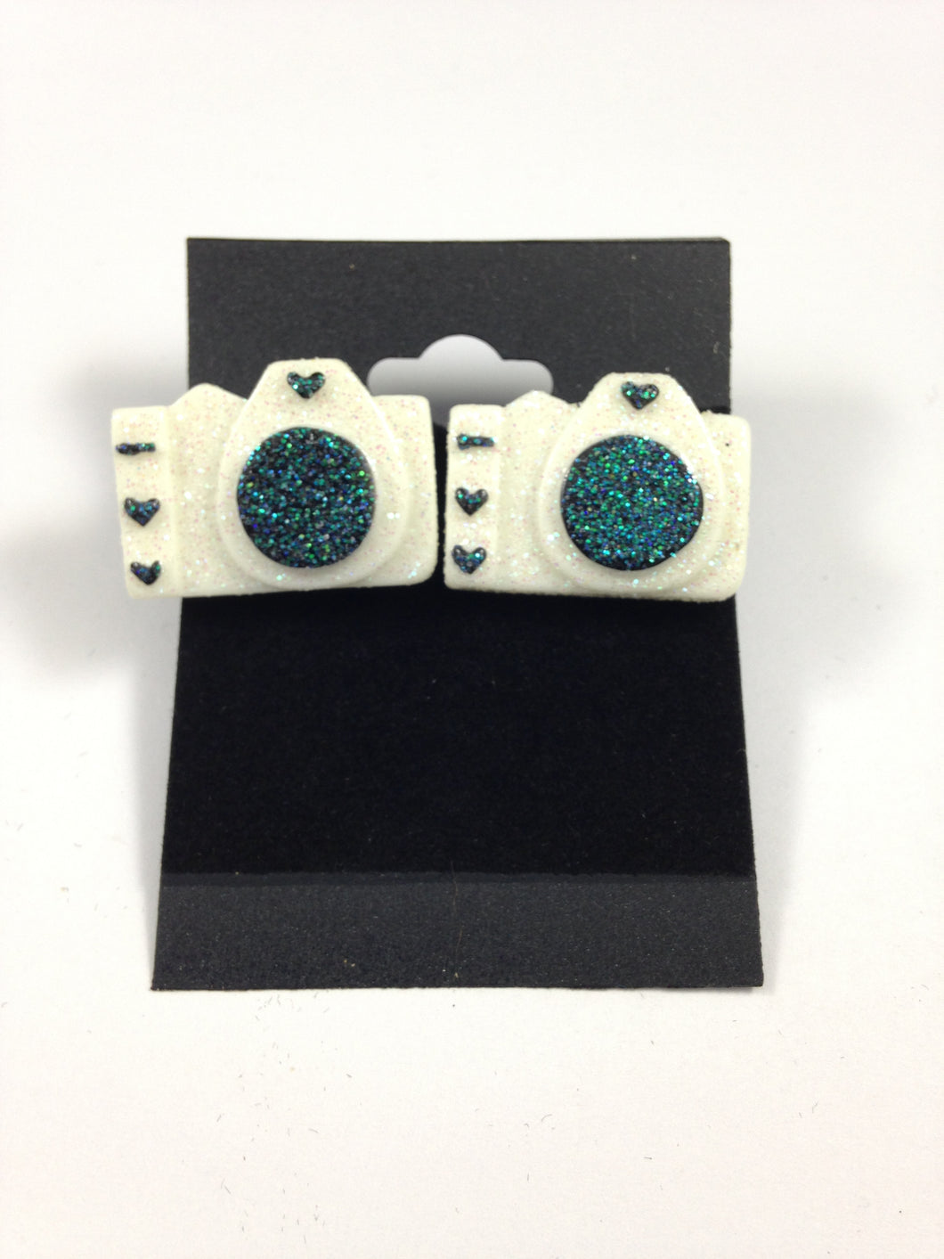 White Camera Earrings