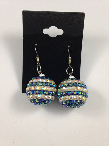 Rhinestone Blue and White Bead Earrings