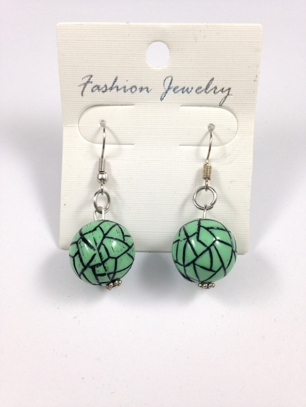 Black and Green Bead Earrings