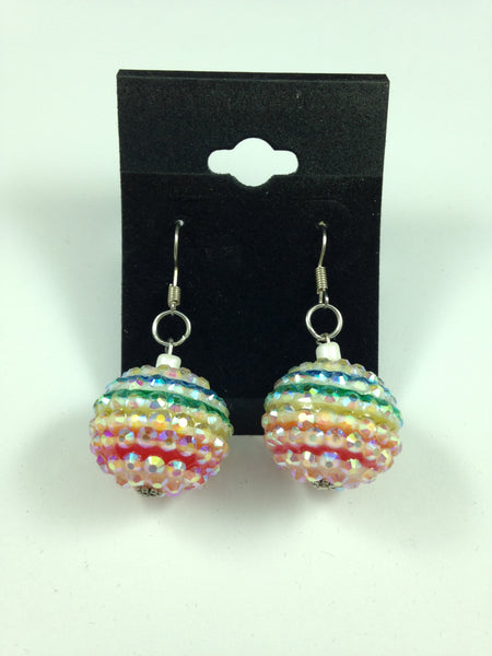 Rhinestone Rainbow Stripe Beaded Earrings