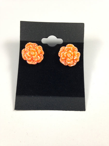 Rhinestone Orange Flower Earrings