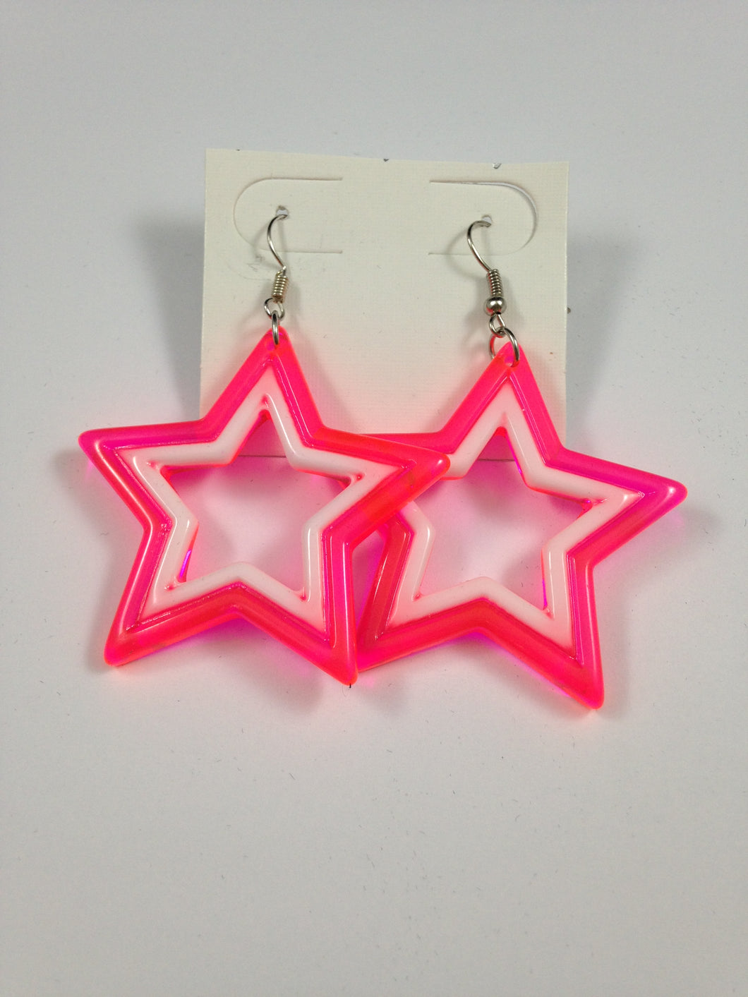 Pink and White Star Earrings