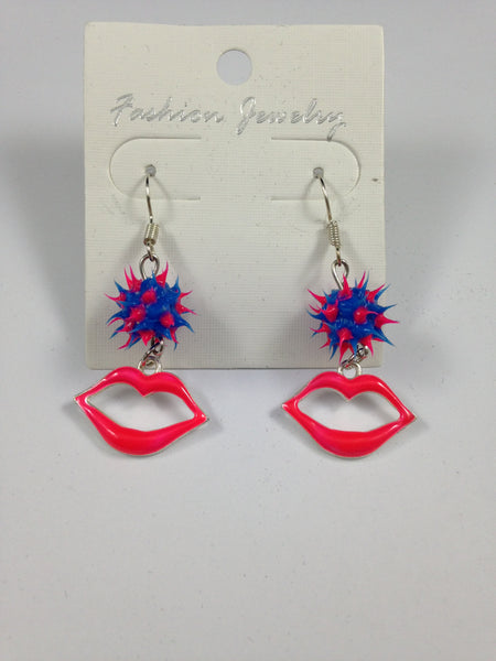 Pink Lips Charm Earrings
