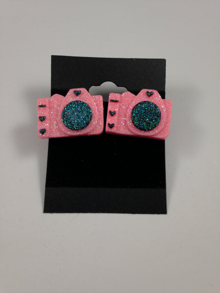 Pink Camera Earrings