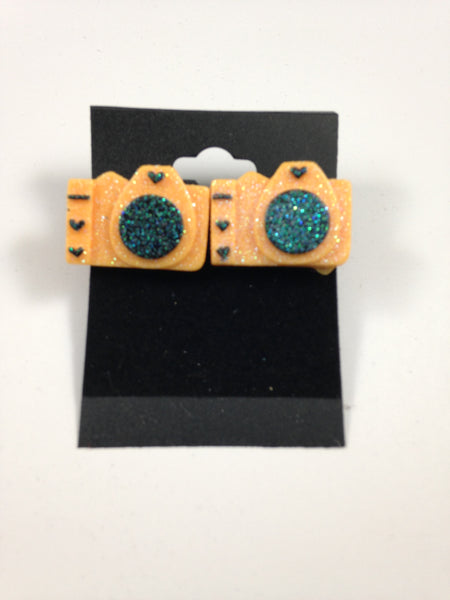 Orange Camera Earrings