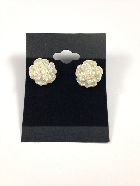 White Rhinestone Flower Earrings