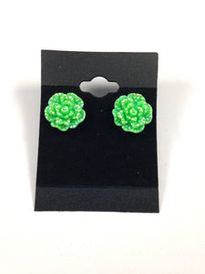Green Rhinestone Flower Earrings