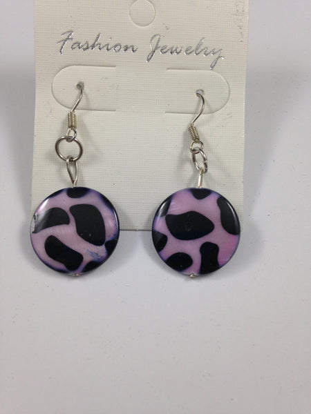 Black and Pink Leopard Print Shell Earrings