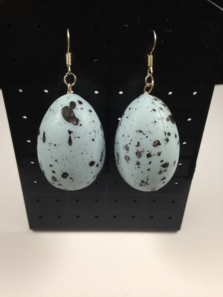 Blue Speckled Egg Earrings