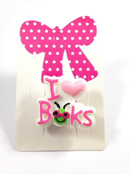 I Love Books Adjustable Ring
