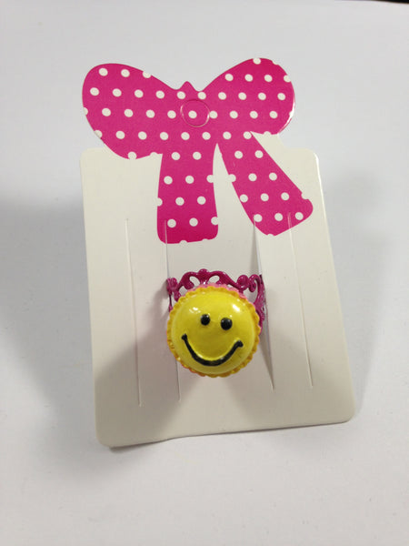 Smiley Face Cupcake Adjustable Ring