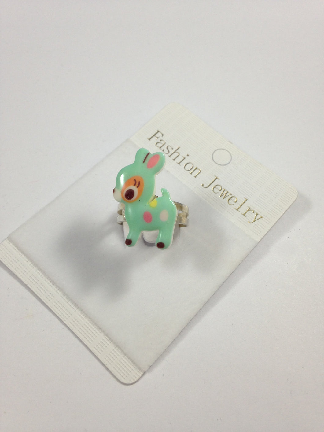 Mint Green Baby Deer Adjustable Ring