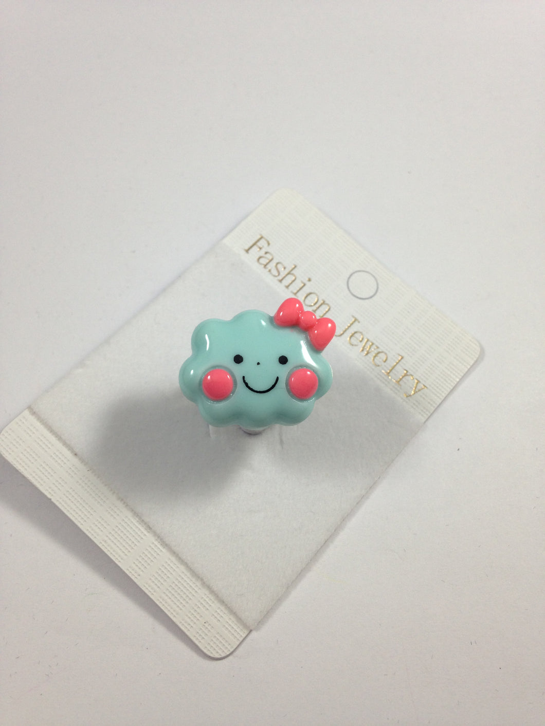 Blue Happy Face Cloud Adjustable Ring