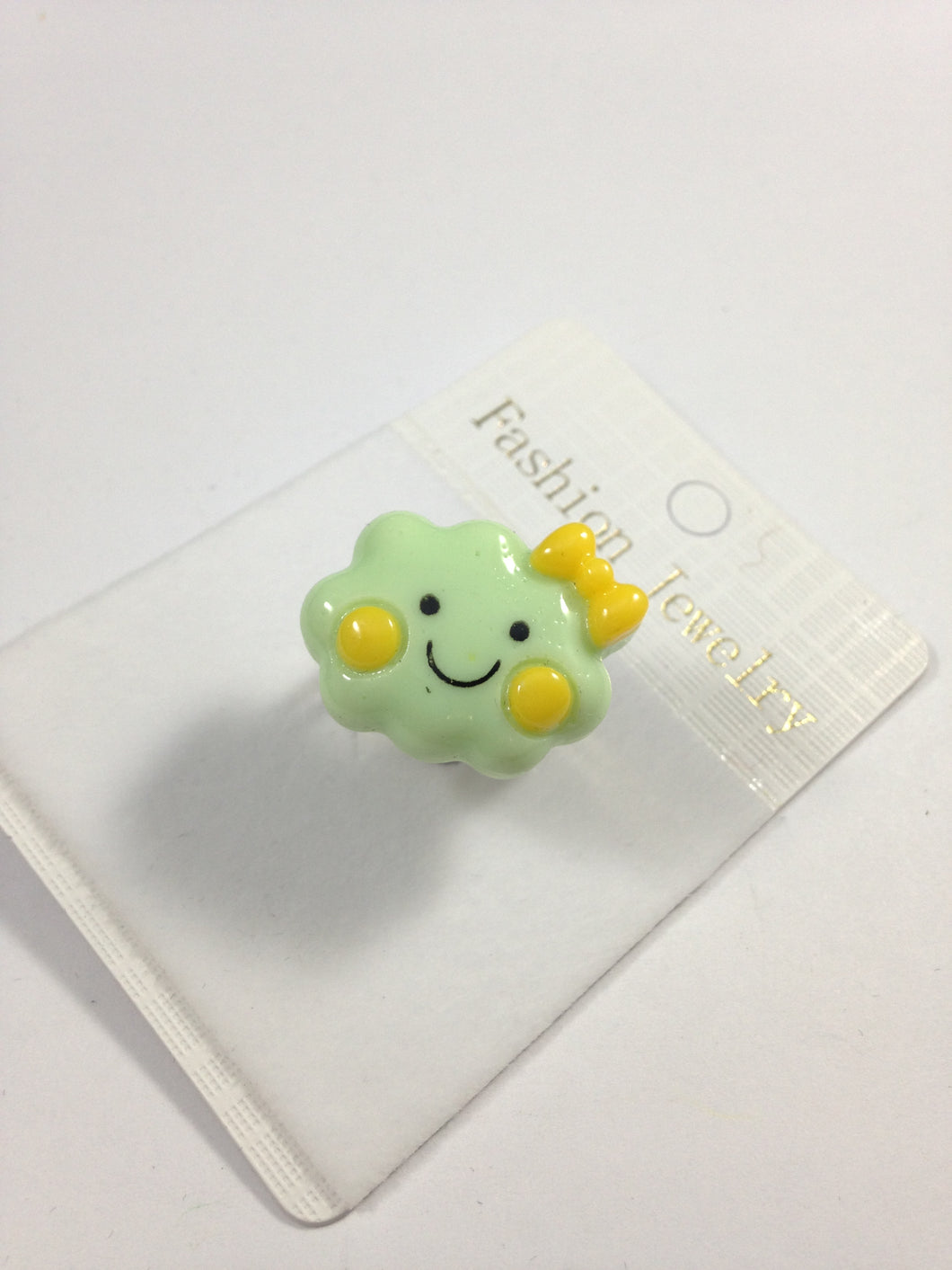 Mint Green Happy Face Cloud Adjustable Ring