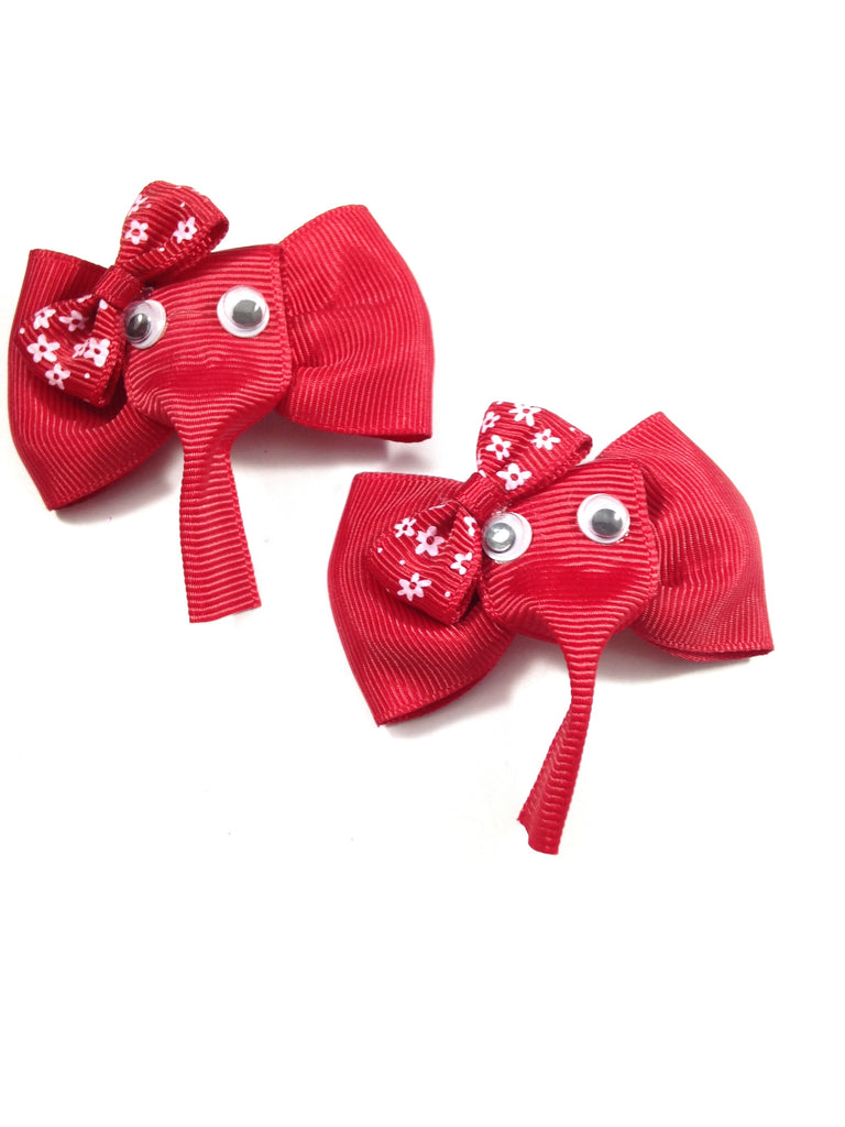 Red Elephant Hair Bow Clips