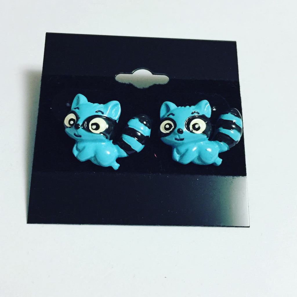 Blue Raccoon Earrings