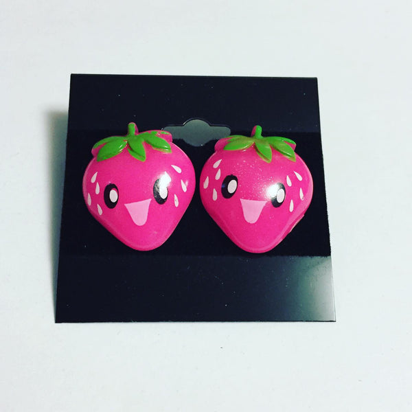 Happy Face Strawberry Earrings