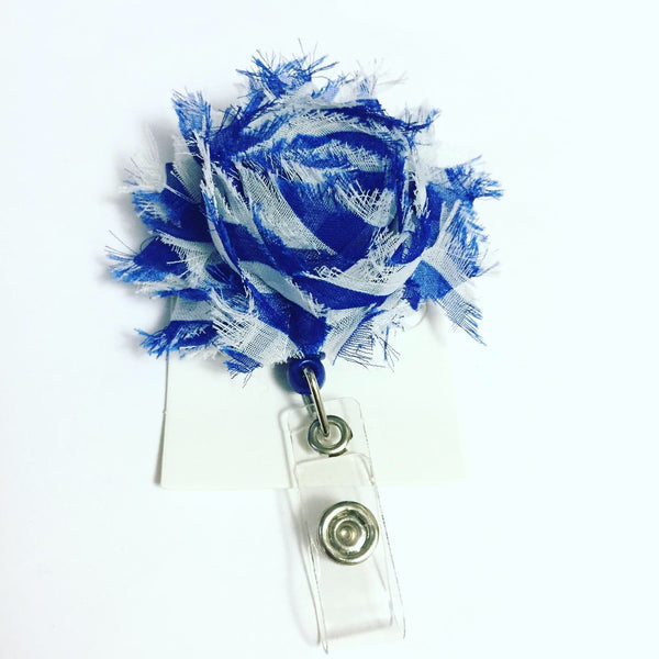 Blue and White Flower Name Badge Reel