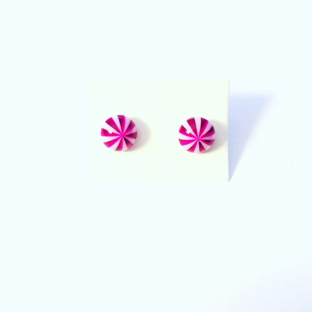 Purple and White Earrings
