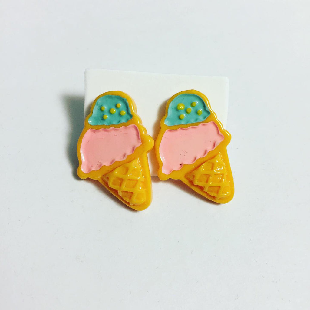Cotton Candy Ice Cream Cone Earrings