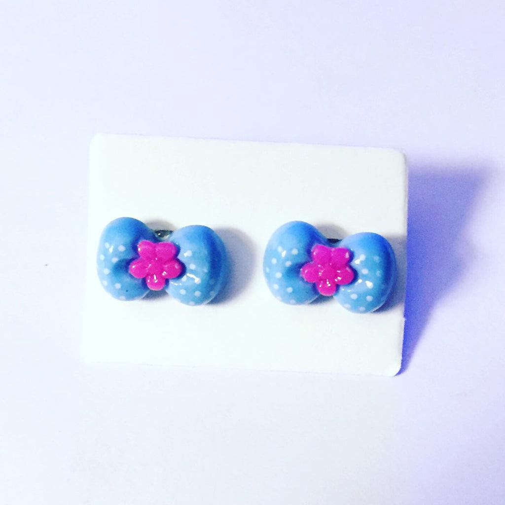 Blue and Purple Bow Earrings