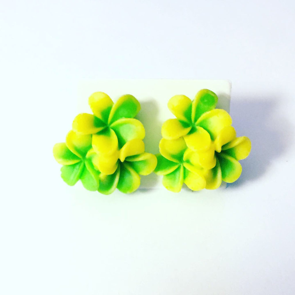 Green and Yellow Flower Earrings