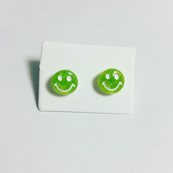 Green Smiley Face Earrings