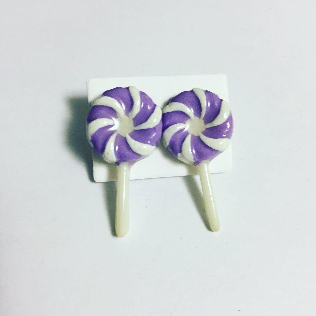 Purple and White Swirl Lollipop Earrings