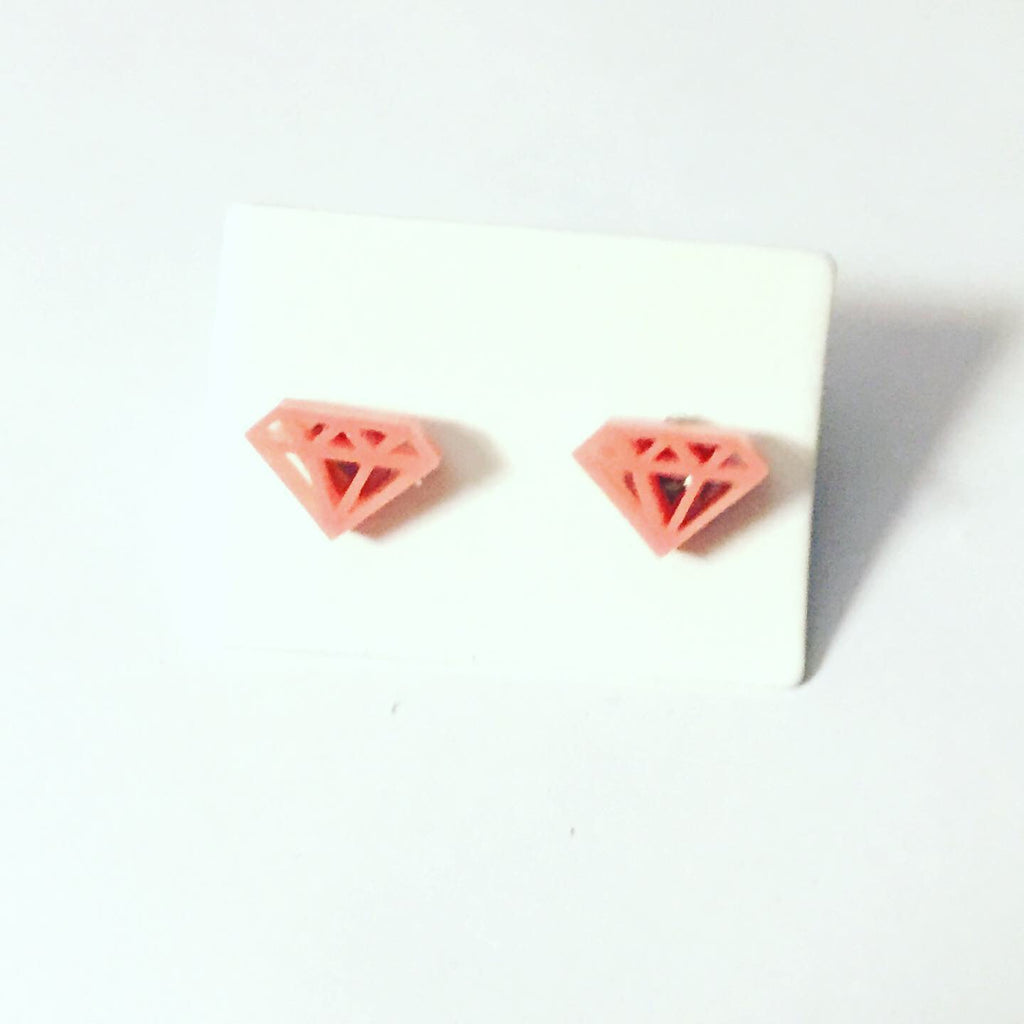 Pink Diamond Shape Earrings