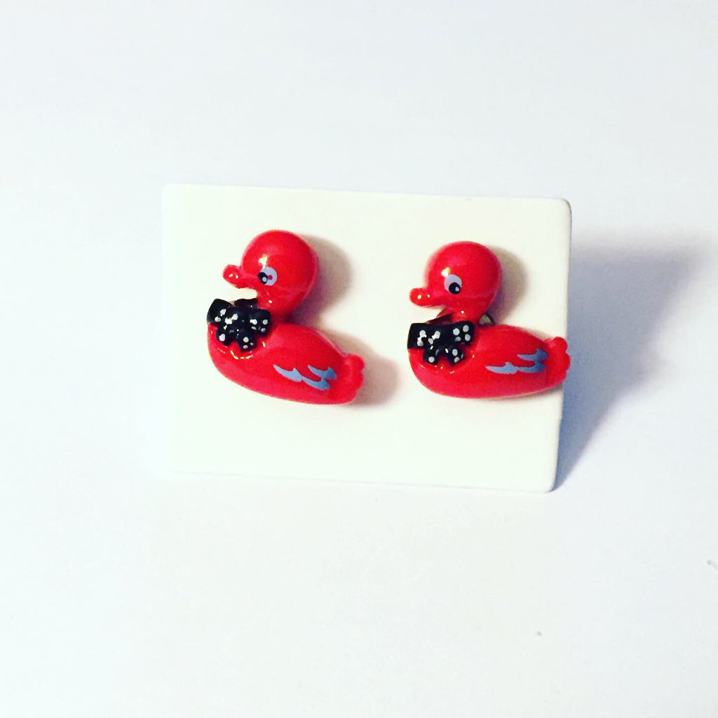Red Duck Post Earrings