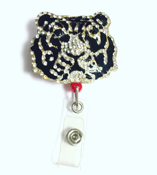 Rhinestone White Tiger Name Badge Reel