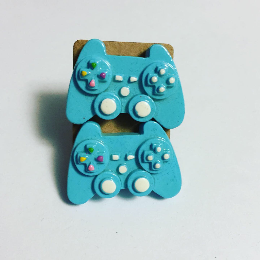 Blue Game Controller Earrings