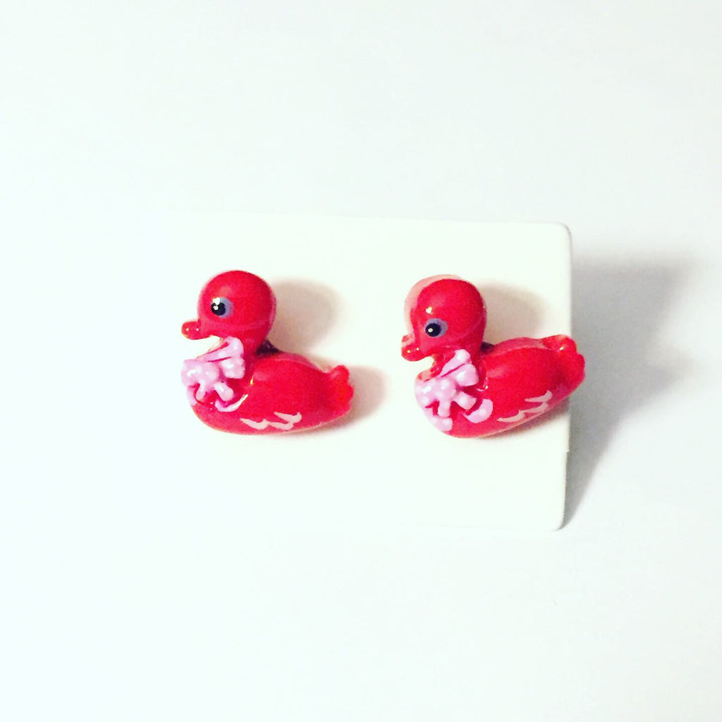 Red Duck Earrings