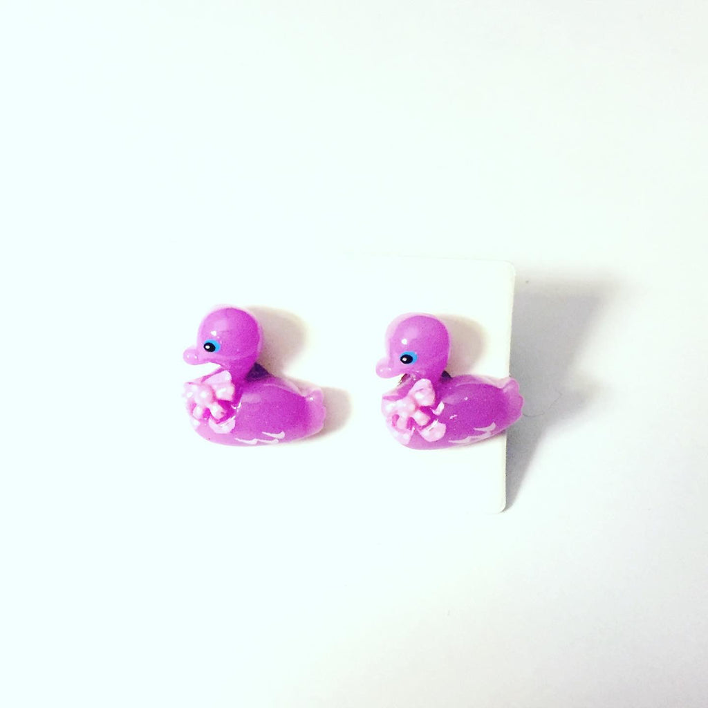 Purple Duck Earrings